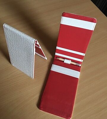 Golf Score Card Holder - Faux Leather - White/Red