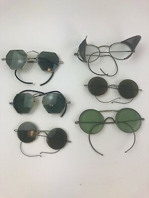 Antique Lot of 5 Wire Rimmed Glasses, Green, Clear, Brown Glass