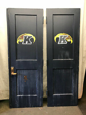 Pair of Interor Wood French Doors with 1/2 glass single pane w/ Kent State Logo