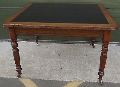 Antique Victorian Oak Leather-Topped Library Writing Table by Trapnell & Gane