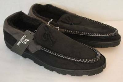Mens Slippers Black Gray Moccasins Medium 10 - 11 House Shoes In / Outdoor Sole