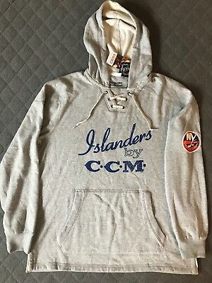 CCM New York Islanders Vintage Retro Pullover Hoodie Jersey Men s Size  Large New c6abb560b