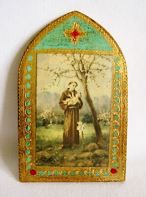 Vtg ITALY FLORENTINE TRIPTYCH Hand Painted Gold ST ANTHONY of PADUA PLAQUE