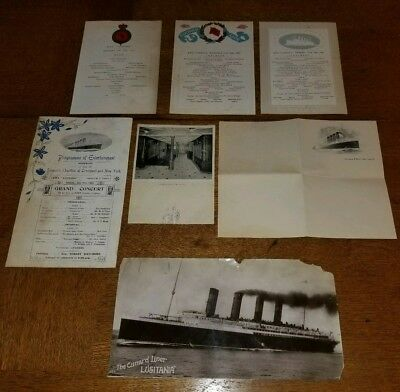 Rms Lusitania Cunard Original Rare 1909 Lot From Ill-Fated Ocean Liner
