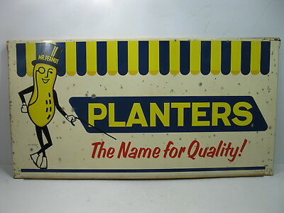 1963 PLANTERS PEANUTS Nut Department Sign Metal Double Sided Vintage on planters guy, planters pecans, planters nutmobile, planters candy, planters nut bar, planters sunflower kernels, planters holiday pack, planters cashews, planters peanutbutter, planters holiday collection, planters mixed nuts, planters honey roasted, planters brittle nut medley, planters sunflower seeds, planters nut man, planters logo, planters potato chips, planters crackers, planters almonds, planters walnuts,