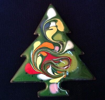 Vintage Modernist Enamel on Copper Cheerful Christmas Tree Holiday Pin Brooch