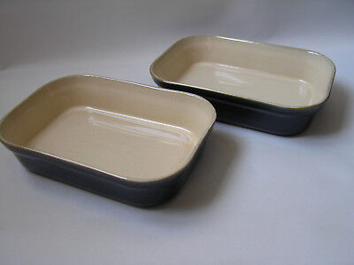 2 x small blue DENBY Classic rectangular serving / oven dishes