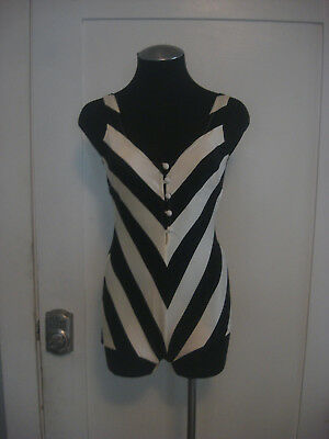 VTG 60's Cole of California Black White Stripe One Piece Swimsuit Button Up Sz 8