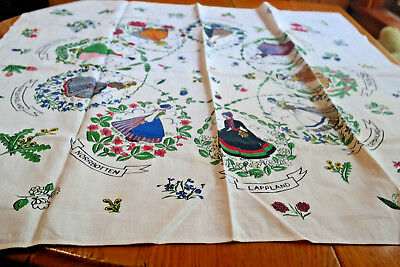 Vintage Tablecloth Souvenir SWEDEN..Each Province Flowers Ladies in Costumes