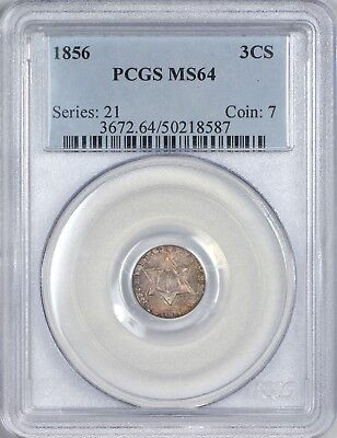 1856 Three Cent Silver Piece (Trime) PCGS MS64 - Toning
