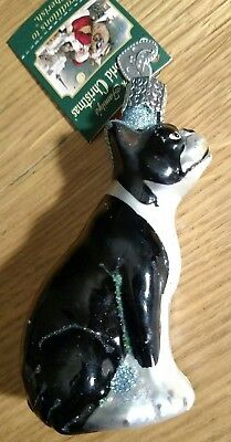 "Merck Old World Boston Terrier Dog Blown Glass Christmas Ornament 3"" 12290"