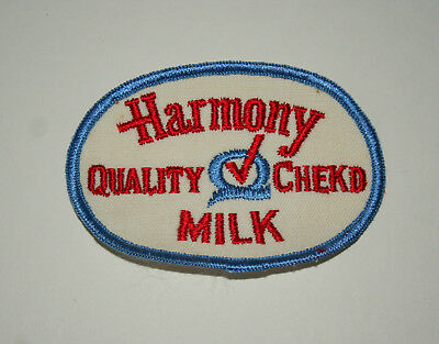 Harmony Quality Checked Milk Dairy Farmer Driver Uniform Patch 1970s NOS New