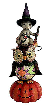 Jim Shore Heartwood Creek*PINT SIZE STACKED OWL & MOUSE*New*HALLOWEEN*4058848