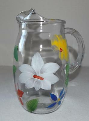 Vintage Gay Fad Bartlett & Collins Glass Pitcher Painted Flowers Juice Ice Lip