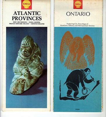 Lot 3 Shell Canadian Road Maps 1968 1969 Ontario, Quebec and Atlantic Provinces