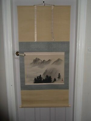 Vintage Japanese hanging scroll  Trees and hills