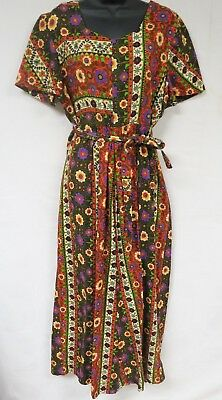 Vintage 70s Jumpsuit Psychedelic Floral Lounge Belted Playsuit One Piece Boho