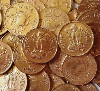 25 Coins, 20 Paise Lotus, 1968 To 1971, Brass Coins Of Past, Xf, Collectible