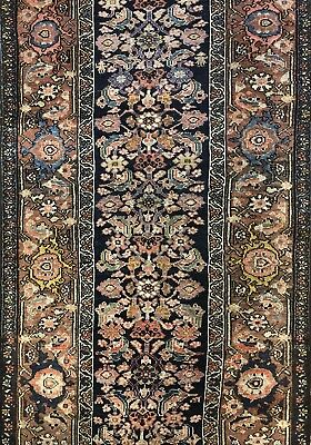 Magnificent Malayer - 1900s Antique Kurdish Runner - Herati Rug - 3.3 x 15.6 ft