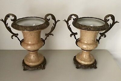 A Pair of Vintage Crackled Porcelain Vases With Brass Bases And Trim Decorations