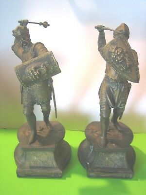 Antique Spelter Matched Pair Of Fighting Knights ..15 Inches Tall,  Very Nice
