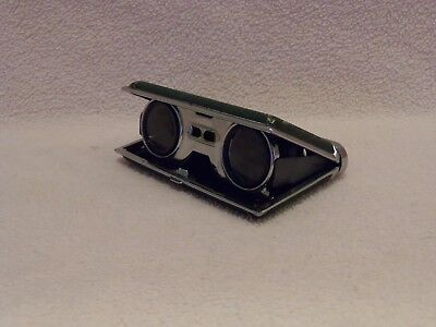 Vintage Opera Glasses binoculars collapsible 2.5x coated lens green