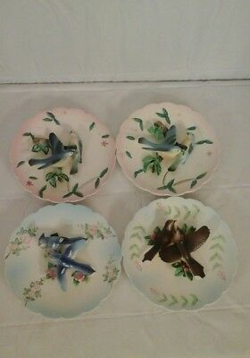 4 Vintage Lefton  3 Dimensional Collector Wall Hanging Bird Plates 532 1950-60