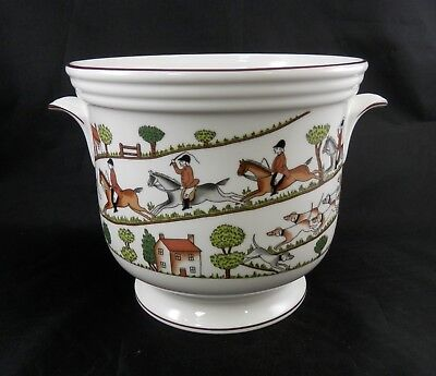 """PV02033 Crown Staffordshire HUNTING SCENE Handled Cache Pot- LARGE- 6 1/4"""" Tall"""