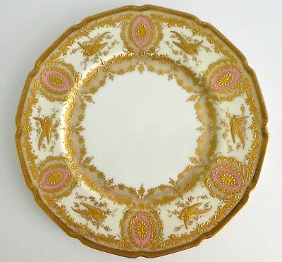 Antique ROYAL DOULTON Cabinet Plate Gold Encrusted Birds Pink Oval Scallops RARE