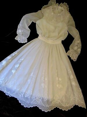 Exquisite Vintage 1940s Wedding Dress sz 10 Embroidered Beaded Button Up Back