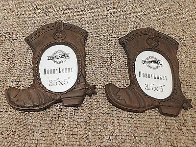 Pair of Cast Iron WESTERN COWBOY BOOT PICTURE FRAMES - GUC