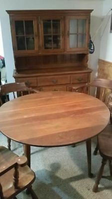SOLID CHERRY BY HARDEN WOOD Mid-Century Modern Cabinet 4 Chair Table Set