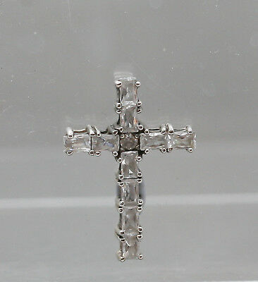 Beautiful Vintage Sterling Silver Cross Pendant Set With White Stones Hallmarked