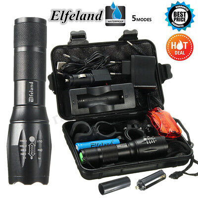 60000LM Elfeland T6 LED Flashlight Rechargeable Tactical 18650 Torch Light SET