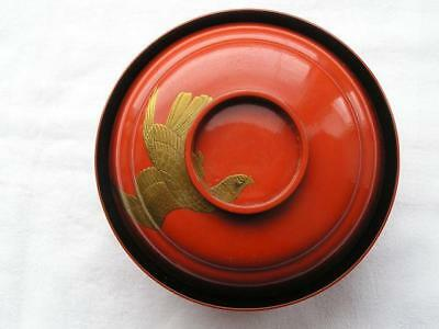 Antique Japanese lacquer chawan (lidded bowl) with eagle & pine 1900-15 #4037
