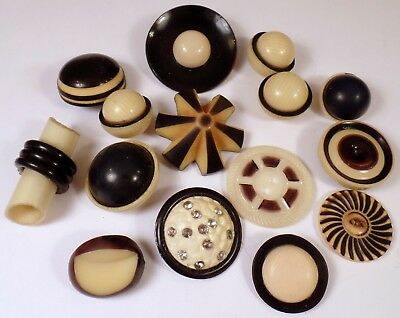 Lot Of 15 Vintage Black & Cream Colored Celluloid Buttons