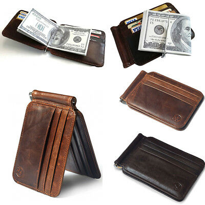 Mens Leather Wallet Money Clip Credit Card ID Holder Slim Thin Front Pocket AU