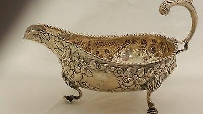 Rare S. Kirk & Son Sterling Silver Figural Repousse Sauce Boat