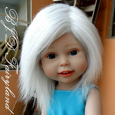 "handmade grey white 11""-12"" fabric fur Wigs hair for 18"" American Girl Dolls"