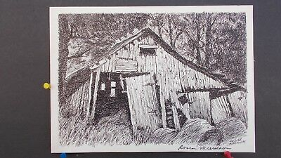 RARE Original Pen and Ink Drawing by Roscoe Misselhorn