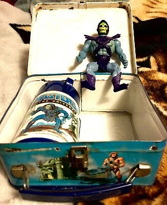 He-man Masters of the Universe 1983 Lunchbox w/ Thermos & free Skeletor w/ Armor