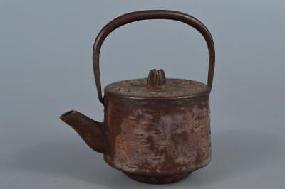 R5630: Japanese Iron Flower sculpture SMALL TEA KETTLE Teapot Tetsubin Sencha