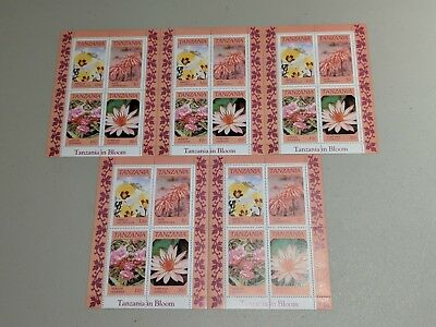 Stamp Pickers Tanzania 1986 Indigenous Flowers MNH S/S Sets x 5 Scott #318a NH