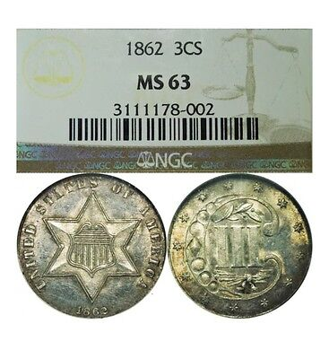 1862 Three Cent Silver NGC MS63