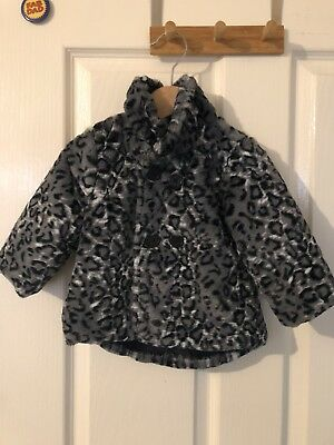 Baby Girls Black And White Leopard Print Soft Jacket Size 0