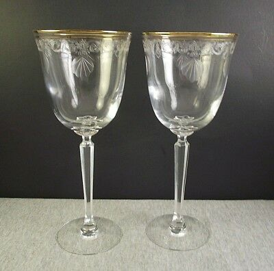 """2 Lenox Crystal Classic Shell Gold 8"""" Water Goblets Glasses"""