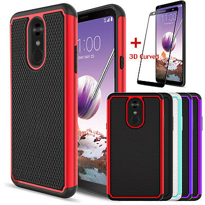 For LG Stylo 4 Hybrid Armor Hard Case Cover + 3D Tempered Glass Screen Protector