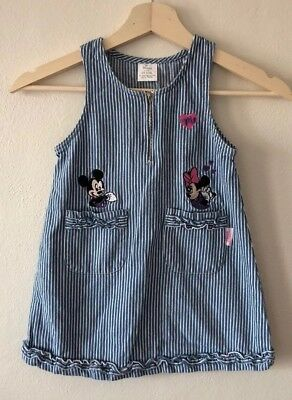 Vintage Chambray Disney Minnie Mouse Dress With Embroidery - Size 4T