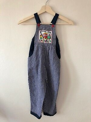 Vintage Kids Chambray Stripe Overalls With Train Theme - Size 4T