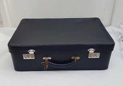 Small Navy Vintage 1960s Standex Suitcase with Original Key